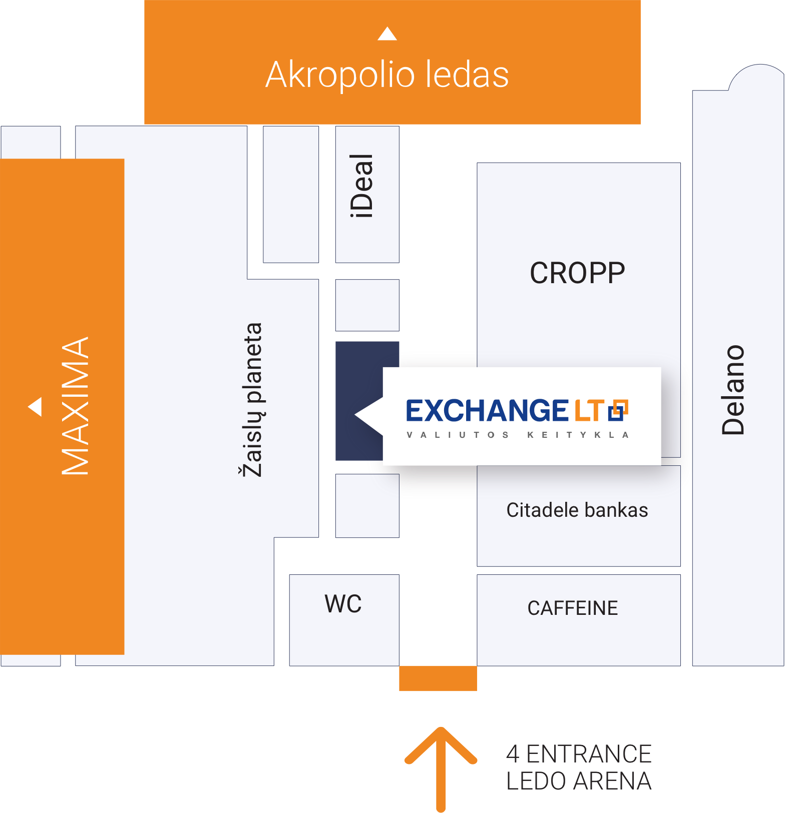 Vilnius Akropolis currency exchange office-plan